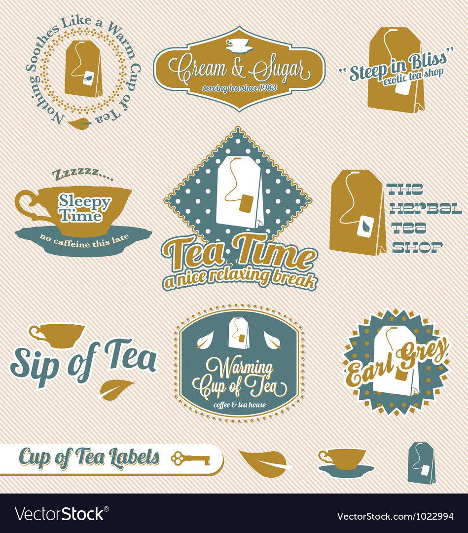 Vintage tea time labels vector | Price: 1 Credit (USD $1)