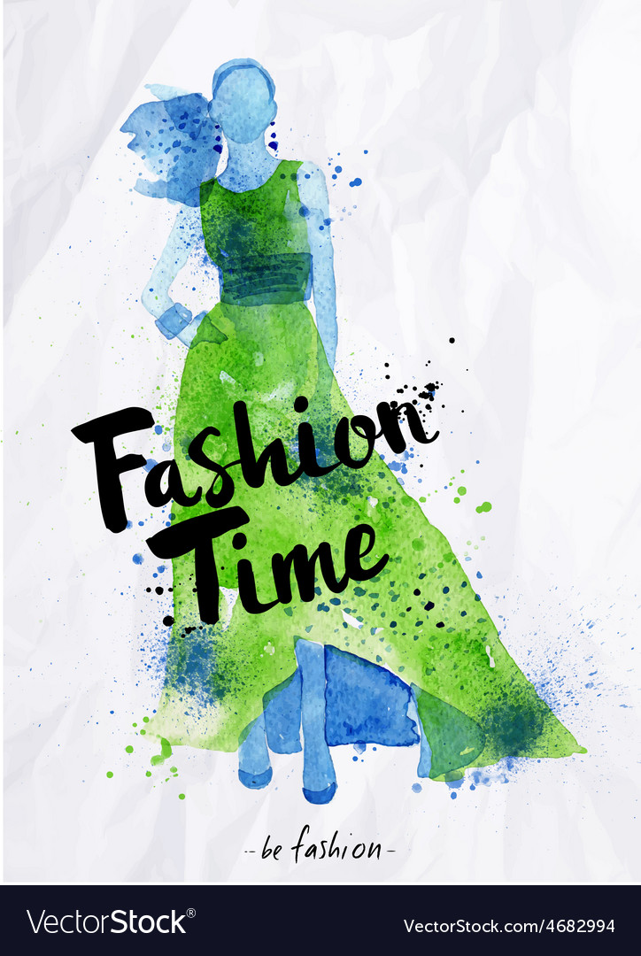 Watercolor poster lettering fashion time vector | Price: 1 Credit (USD $1)