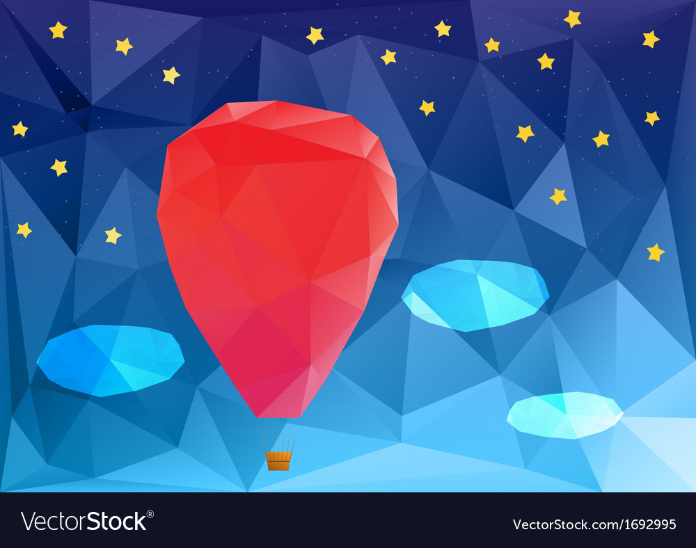 Ballon at night poplygonal vector | Price: 1 Credit (USD $1)