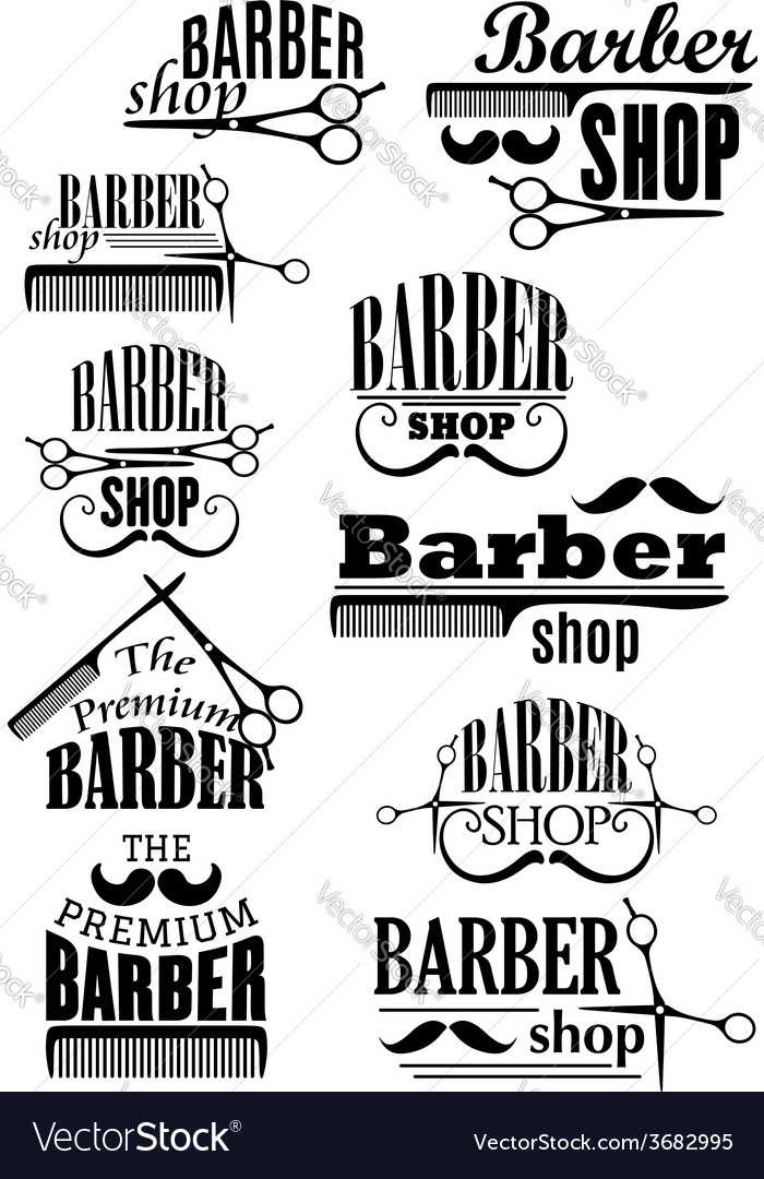 Black vintage barber shop logo and emblems vector | Price: 1 Credit (USD $1)