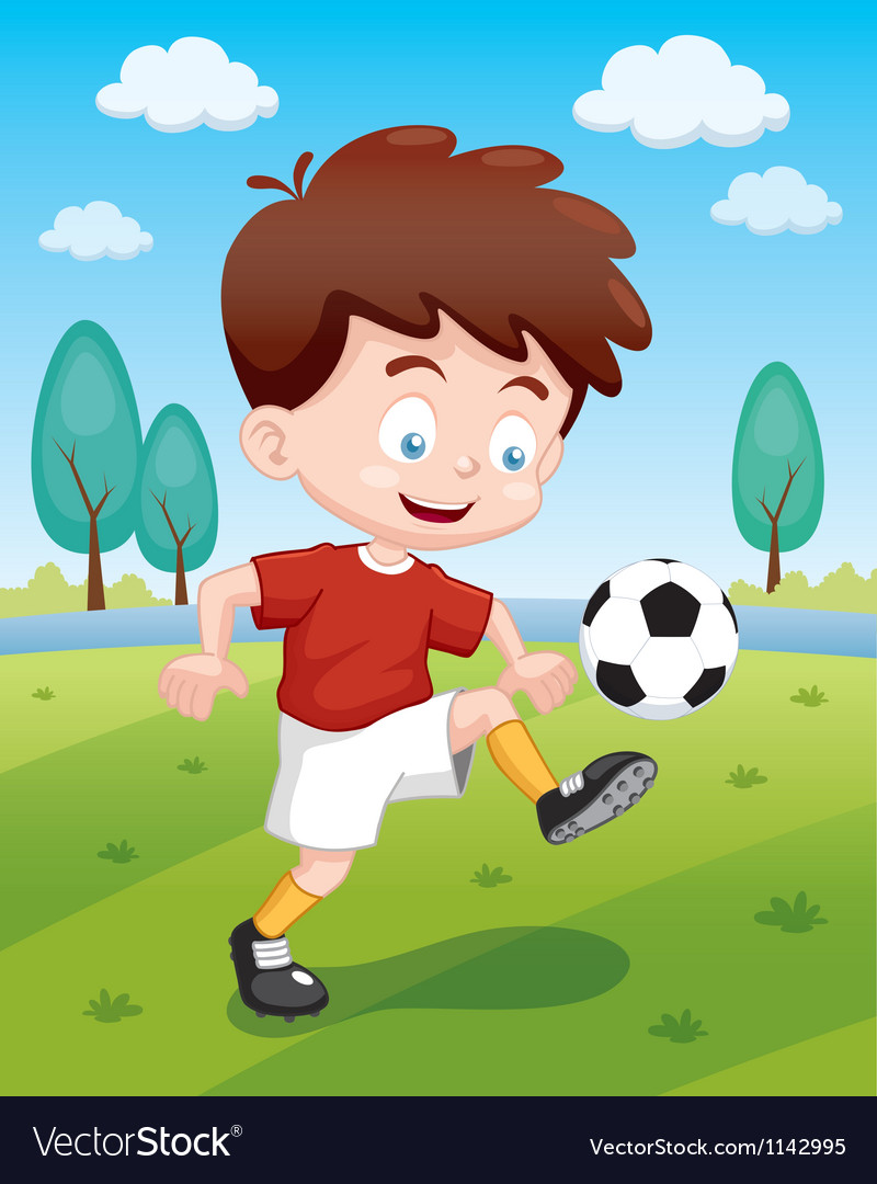 Boy playing soccer vector | Price: 1 Credit (USD $1)