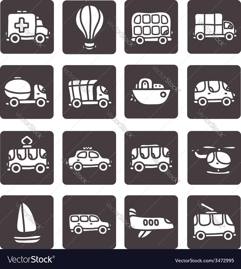 Cartoon hand drawn transport icon set vector | Price: 1 Credit (USD $1)