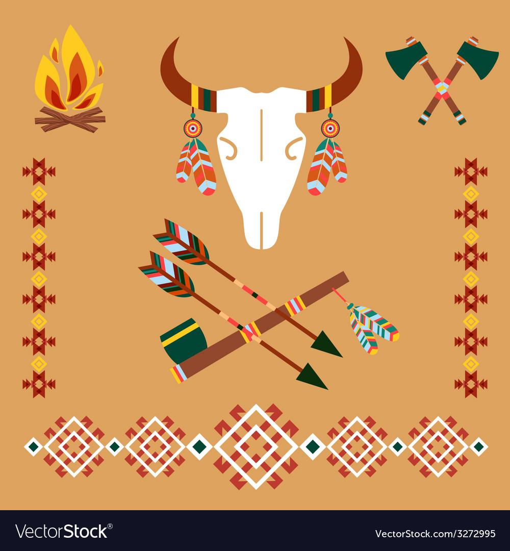 Ethnic ornament with bull skull and arrows vector | Price: 1 Credit (USD $1)