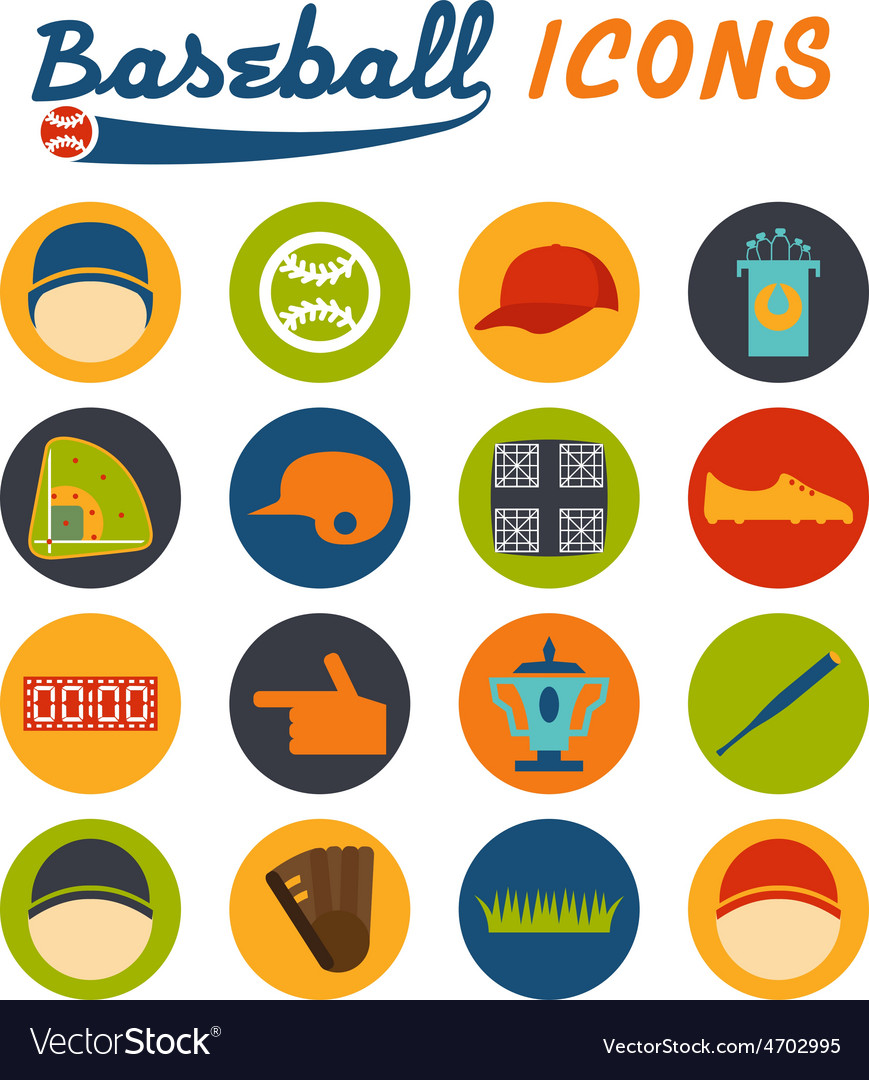 Flat design icons of baseball vector | Price: 1 Credit (USD $1)