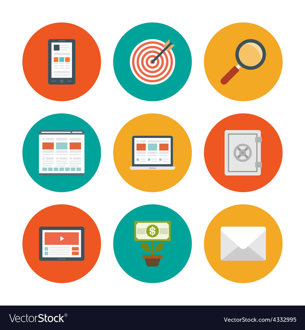 Flat design icons symbols for website vector | Price: 1 Credit (USD $1)