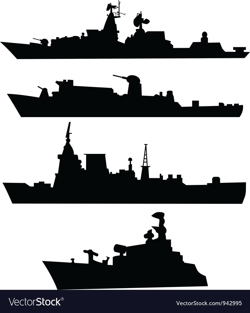 Four silhouettes of a military ship vector | Price: 1 Credit (USD $1)