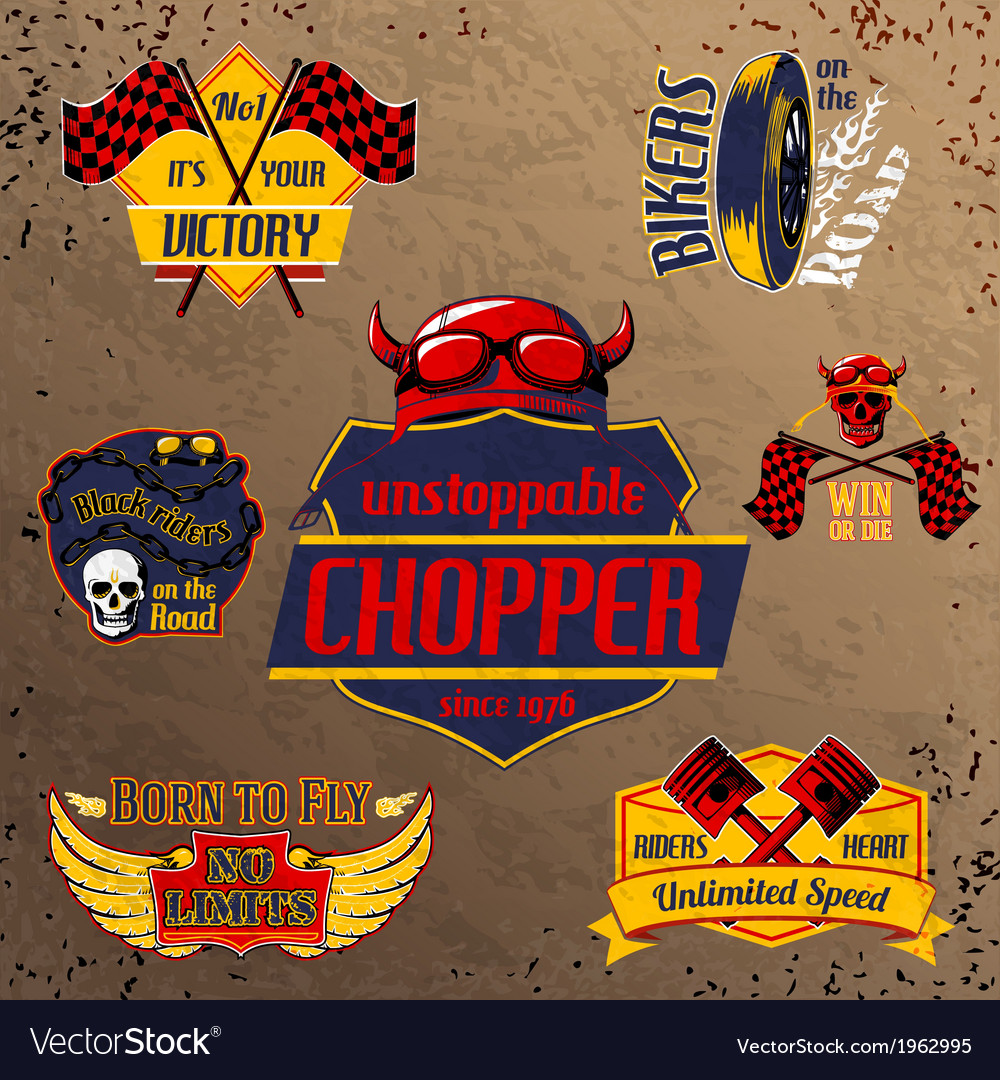 Motorcycle bike emblems set vector | Price: 1 Credit (USD $1)