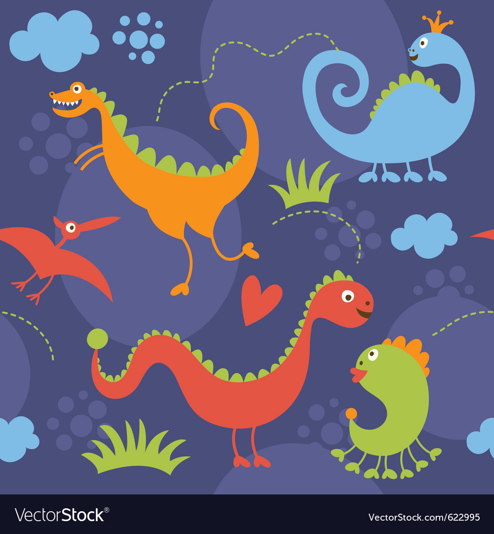 Seamless pattern with cute dinosaur vector | Price: 1 Credit (USD $1)
