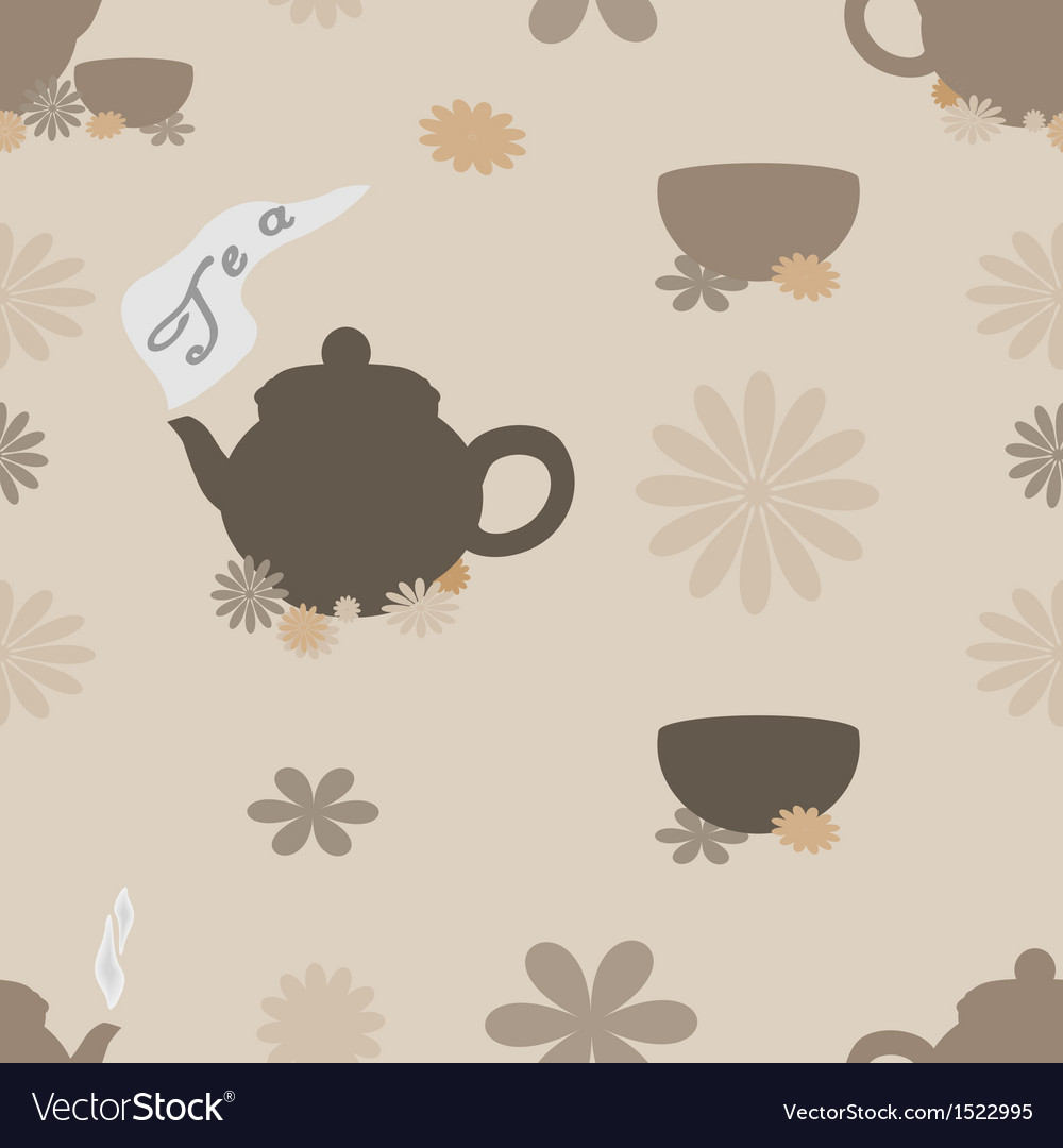 Tea seamless pattern of brown tint vector | Price: 1 Credit (USD $1)