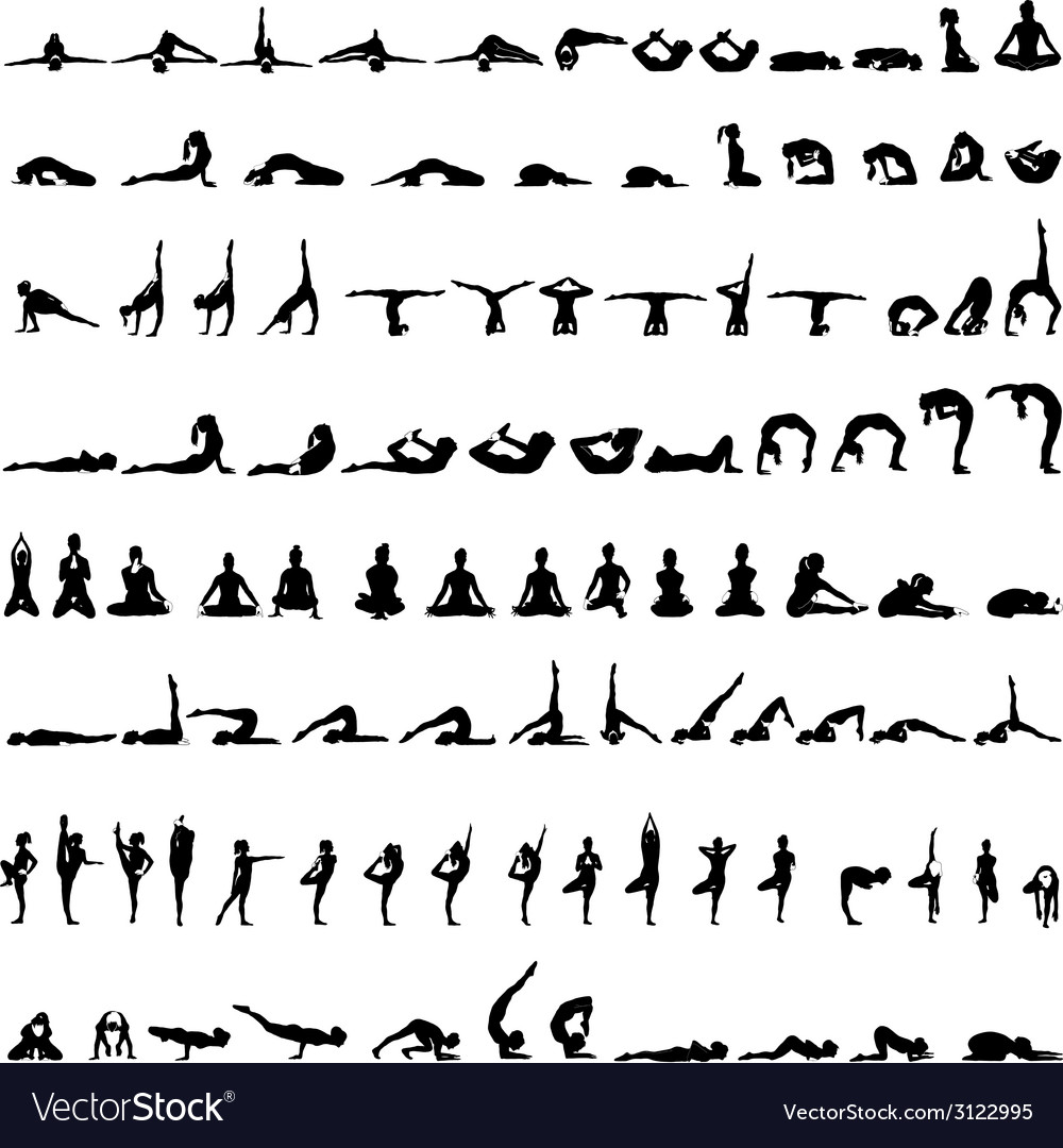 Various yoga postures silhouettes vector | Price: 1 Credit (USD $1)