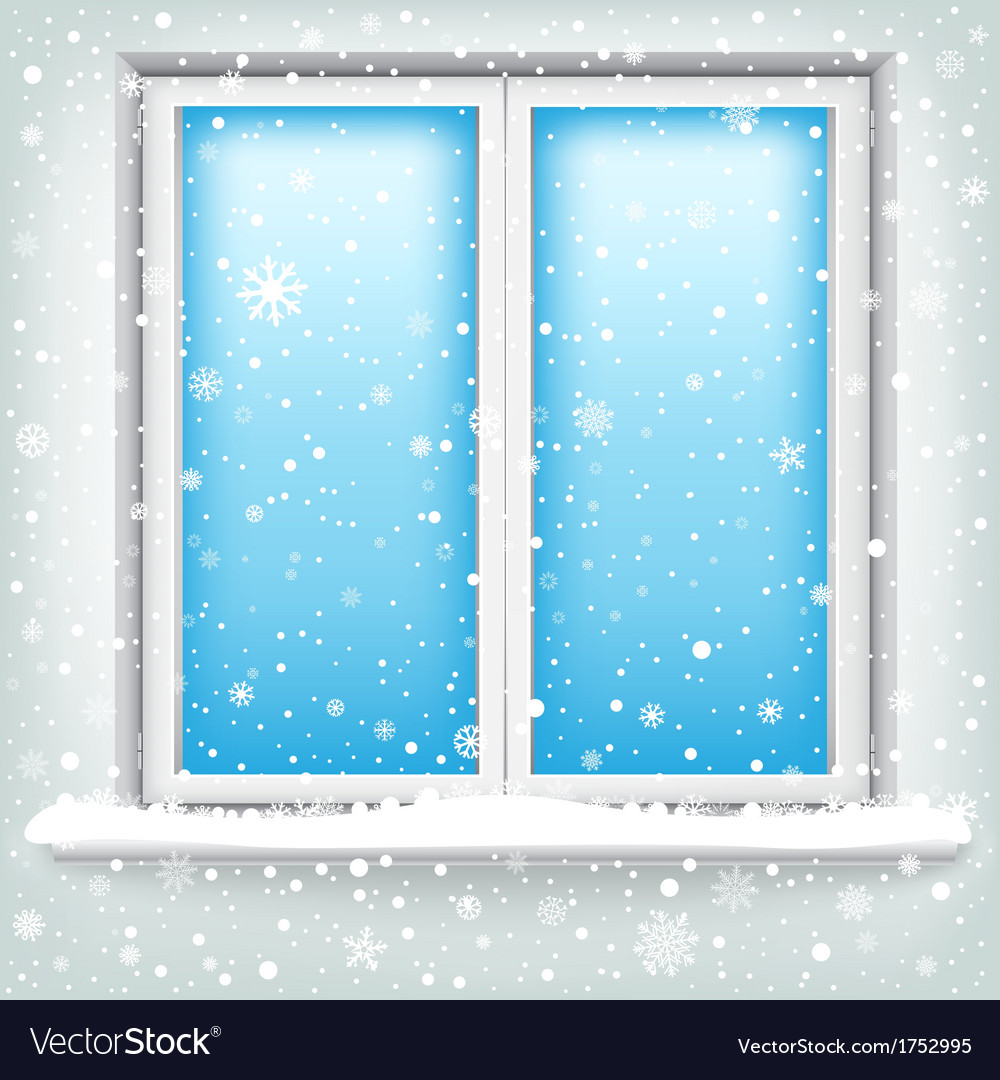Window and snow vector | Price: 1 Credit (USD $1)