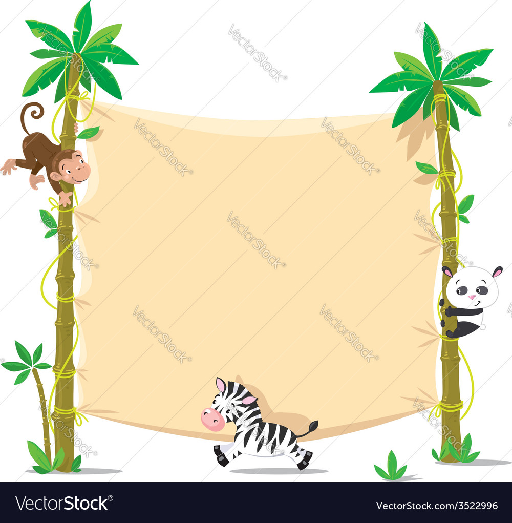 Banner on two palm tree with small funny animals vector | Price: 1 Credit (USD $1)