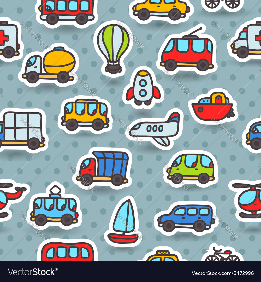 Cartoon hand drawn transport seamless pattern vector | Price: 1 Credit (USD $1)