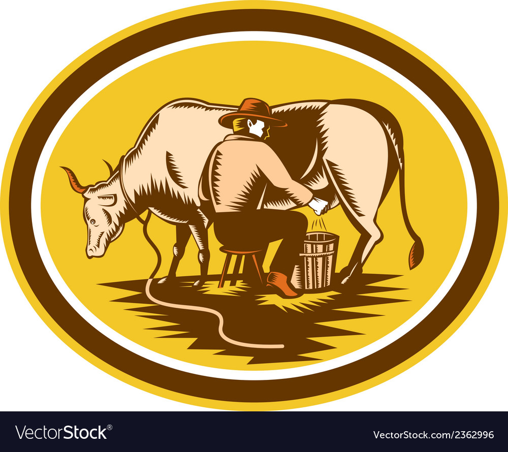 Farmer milking cow oval woodcut vector | Price: 1 Credit (USD $1)