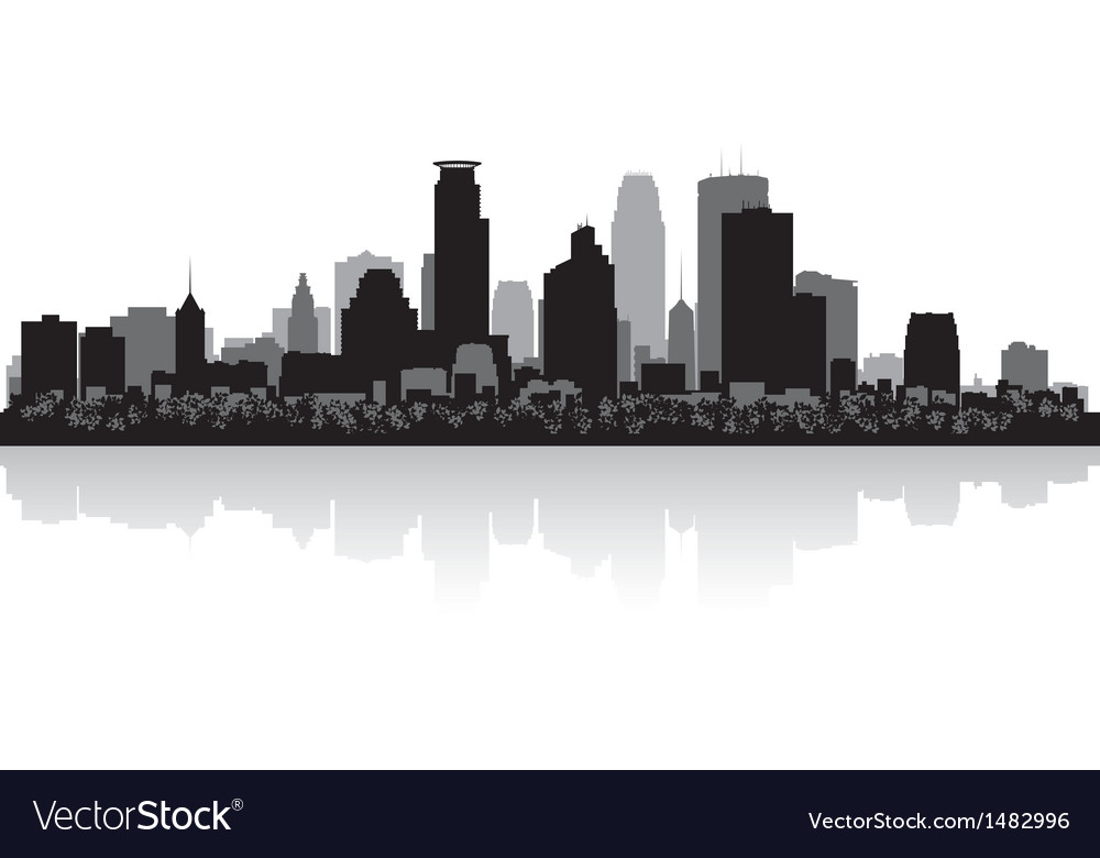 Minneapolis usa city skyline silhouette vector | Price: 1 Credit (USD $1)
