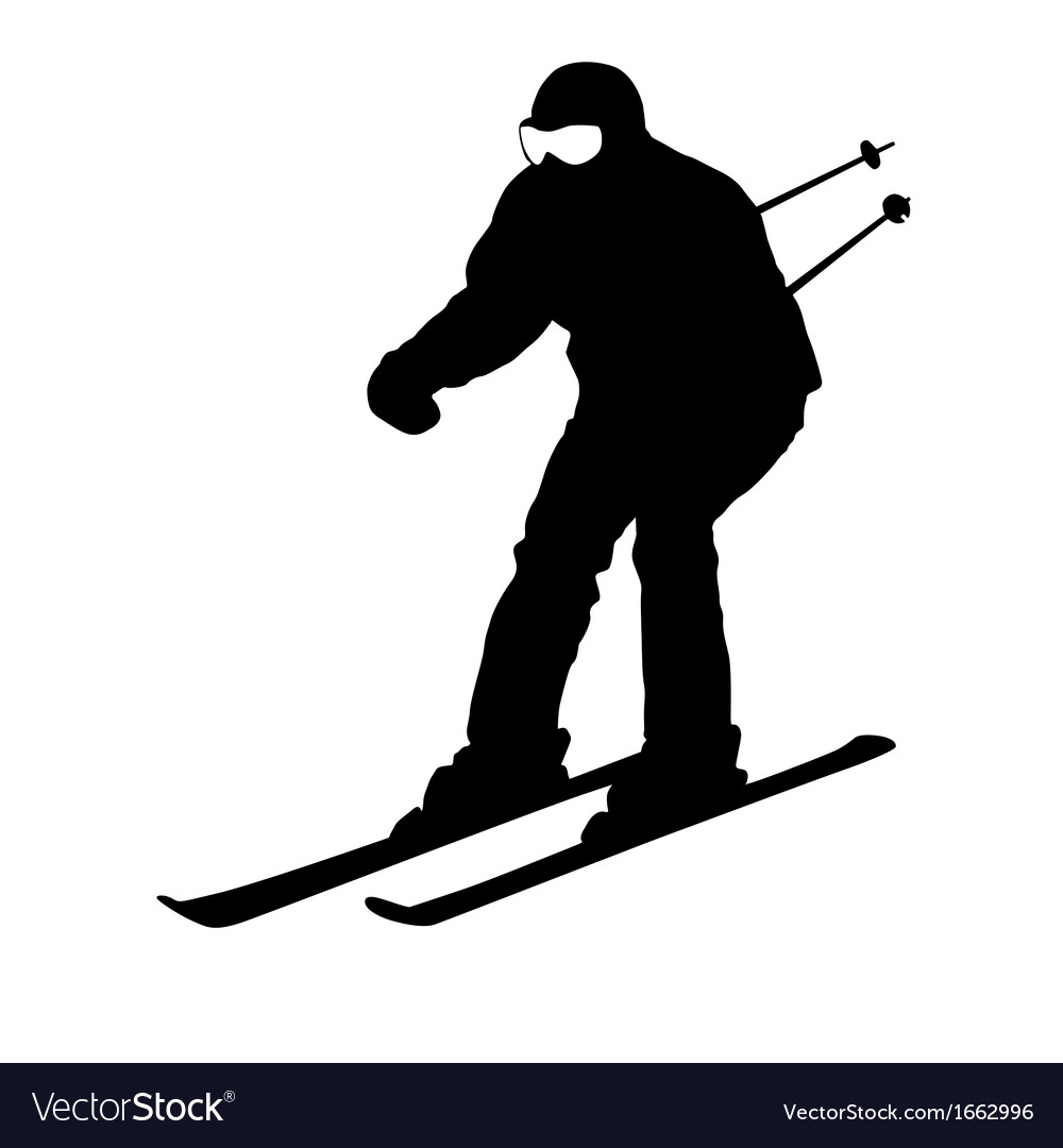 Mountain skier sport silhouette vector | Price: 1 Credit (USD $1)