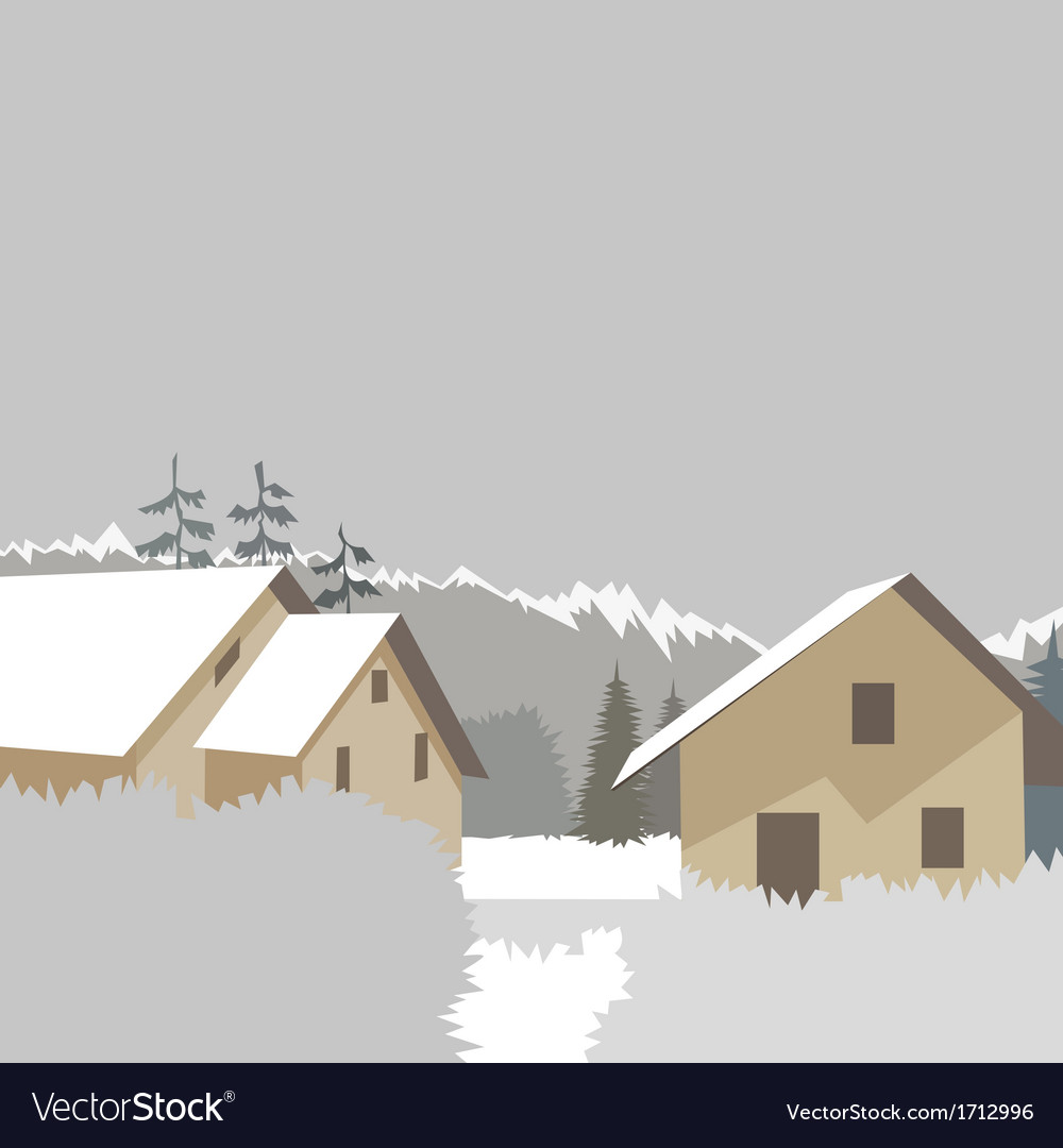 Mountain village winter ski resort vector | Price: 1 Credit (USD $1)