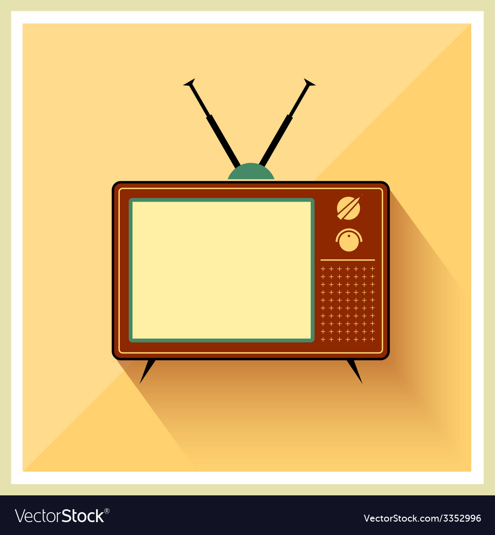 Retro crt tv receiver vector | Price: 1 Credit (USD $1)