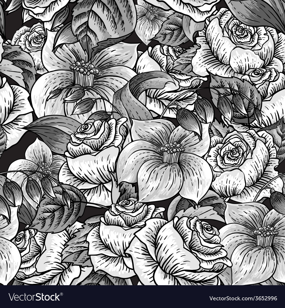 Seamless monochrome floral pattern with roses vector | Price: 1 Credit (USD $1)