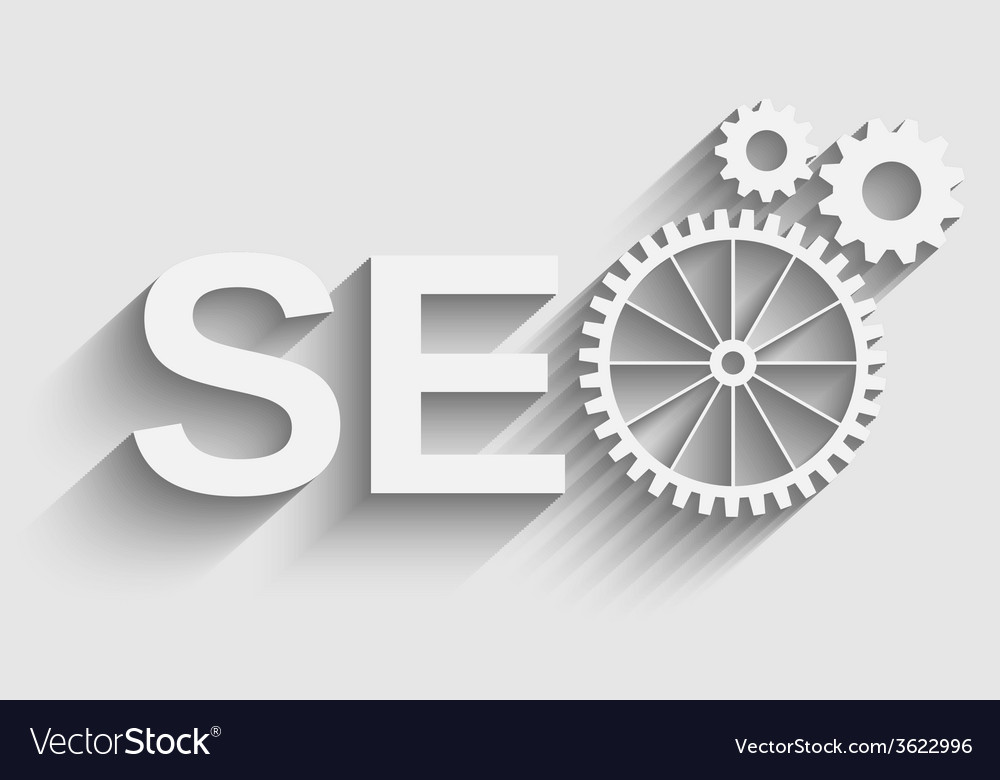 Seo tag with gear wheel vector | Price: 1 Credit (USD $1)