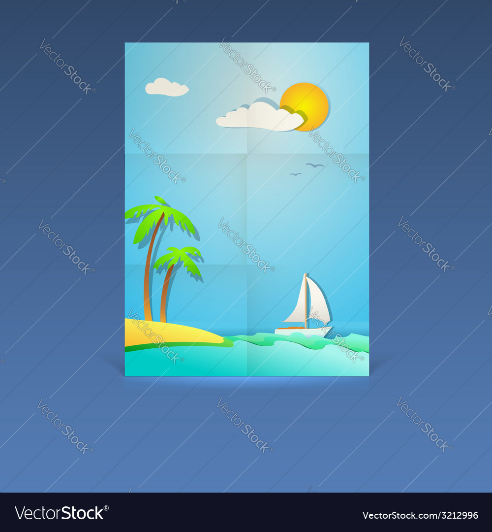 Summer vacation poster vector | Price: 1 Credit (USD $1)
