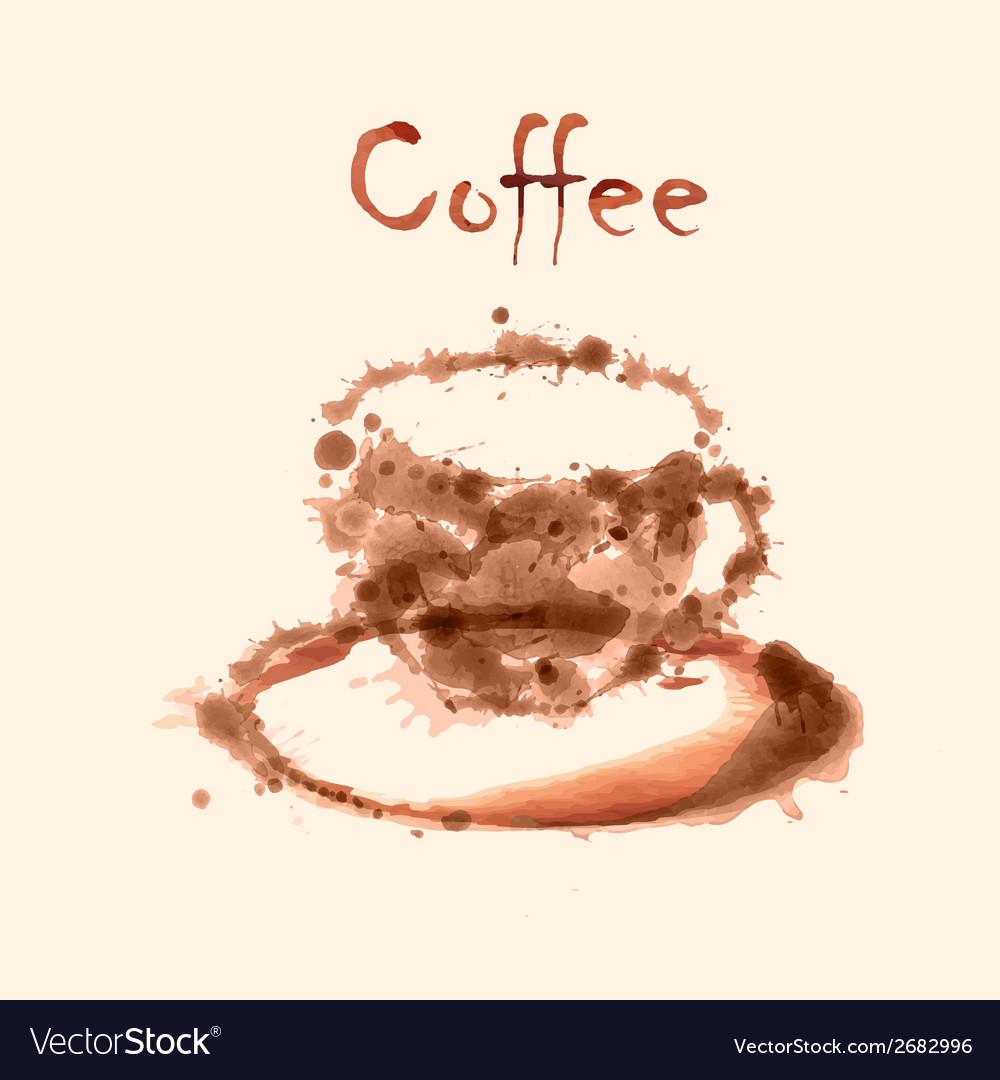 Watercolor coffee background vector | Price: 1 Credit (USD $1)