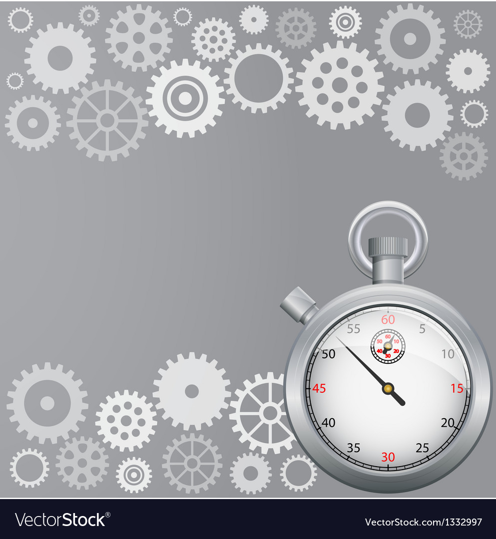Background with gears and stopwatch vector | Price: 1 Credit (USD $1)