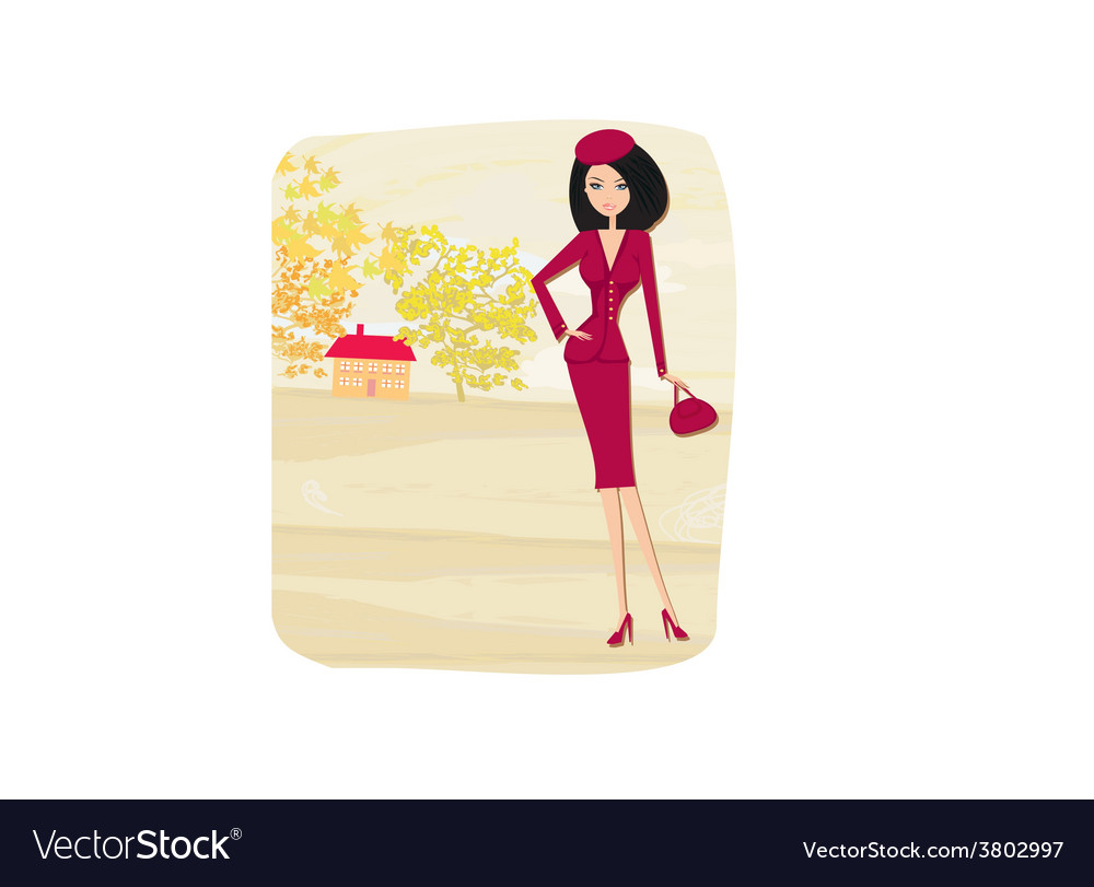 Beautiful fashion autumn girl on rural landscape vector | Price: 1 Credit (USD $1)