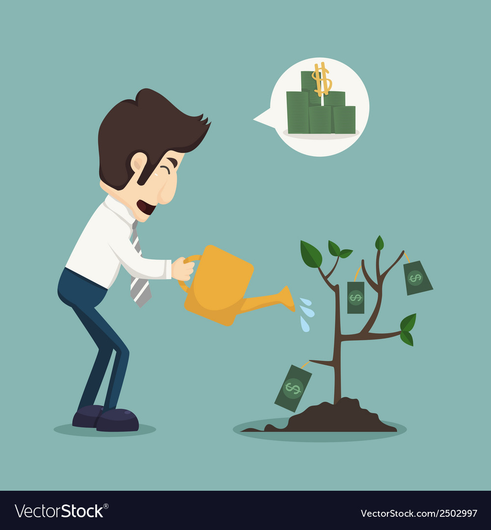 Businessman watering a plant of money vector | Price: 1 Credit (USD $1)