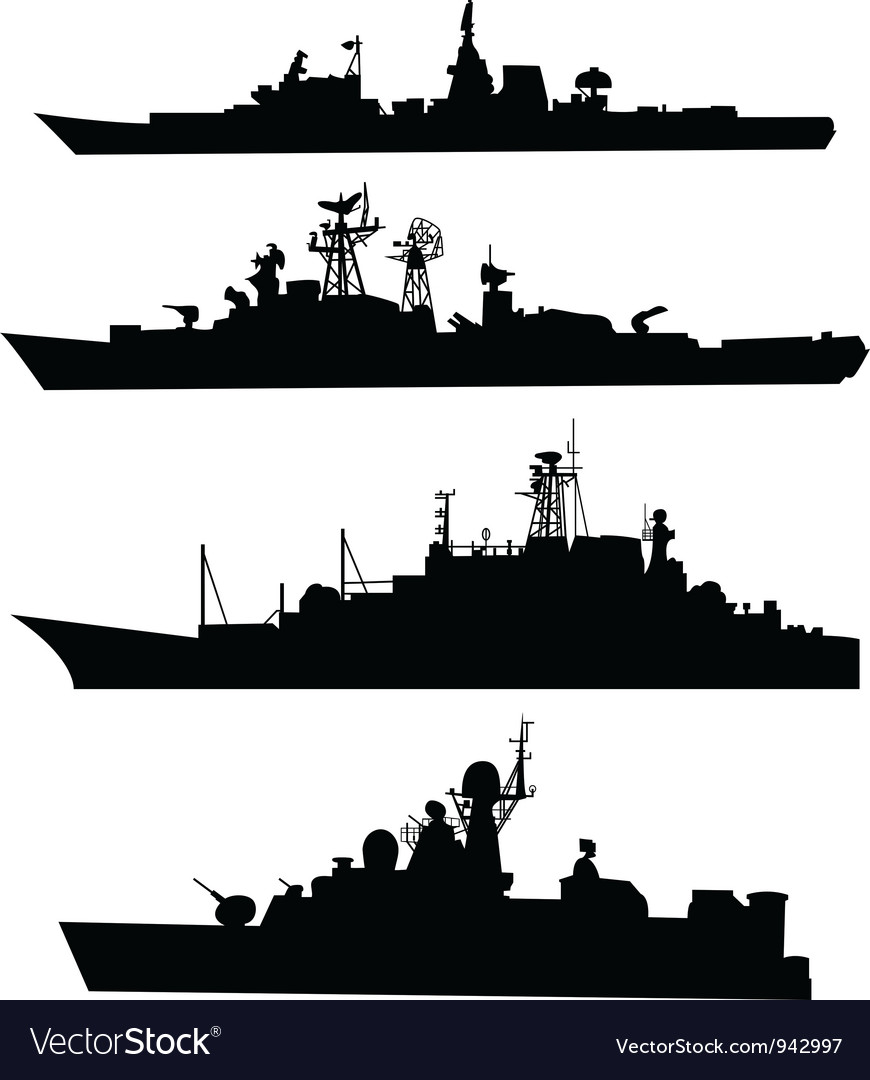 Four silhouettes of a ship vector | Price: 1 Credit (USD $1)