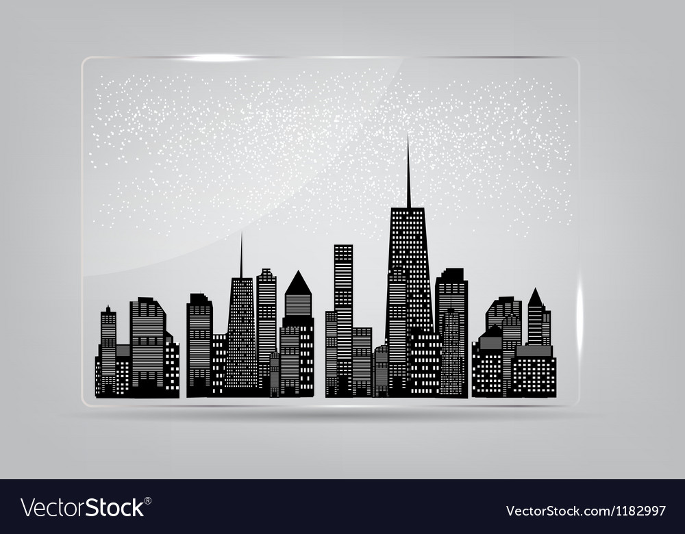 Glass frame with the city in the background vector | Price: 1 Credit (USD $1)