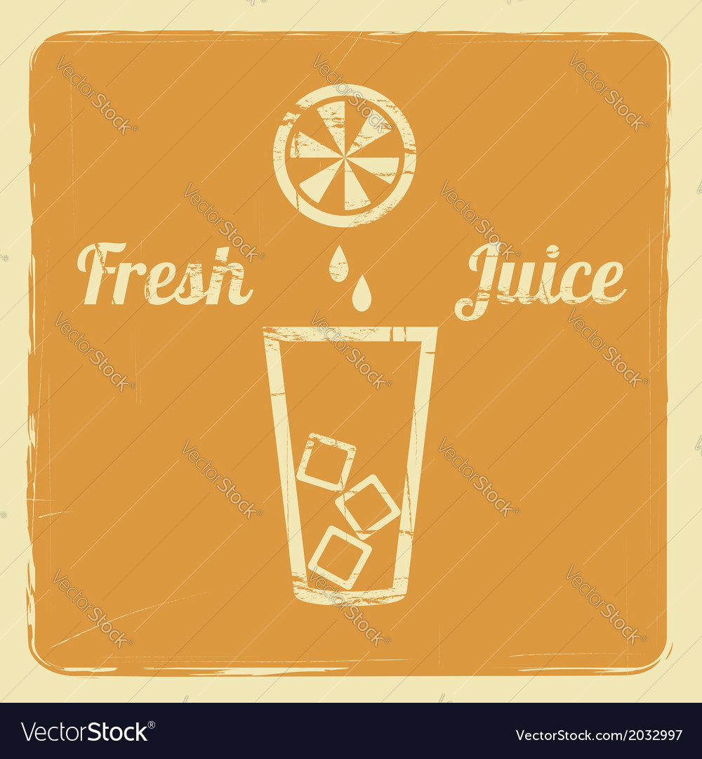 Juice retro poster orange vector | Price: 1 Credit (USD $1)