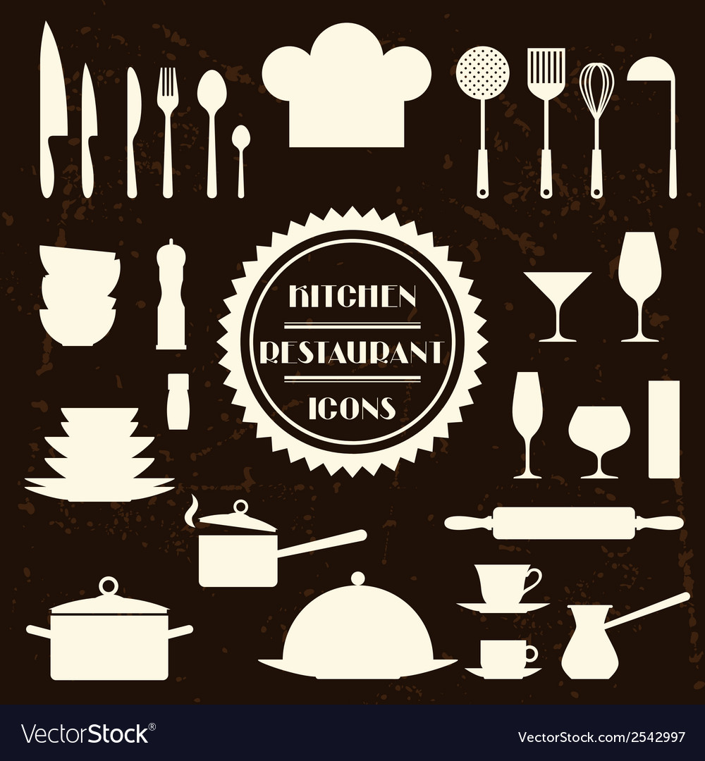 Kitchen and restaurant icons set of utensils vector