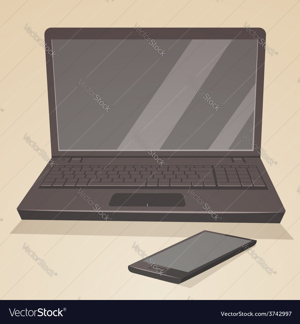Laptop and smartphone vector | Price: 1 Credit (USD $1)