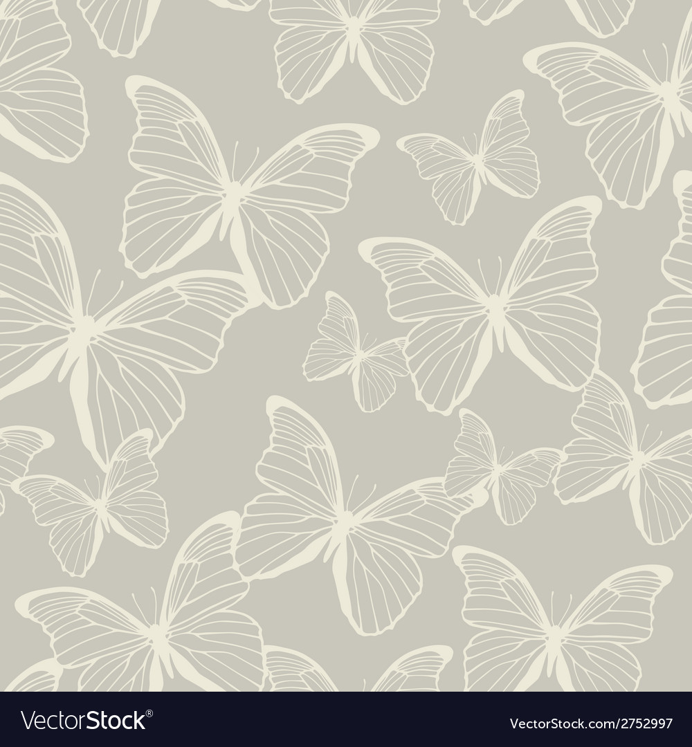 Seamless pattern with outline butterflies vector | Price: 1 Credit (USD $1)