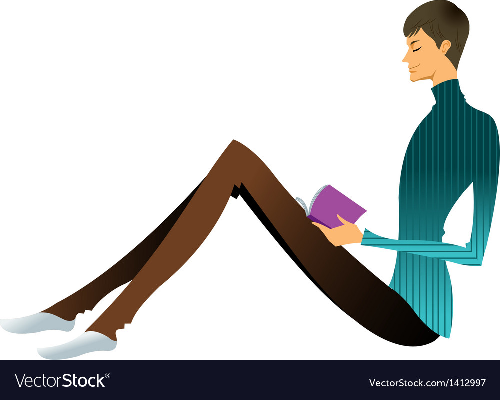 Side view of man reading book vector | Price: 3 Credit (USD $3)