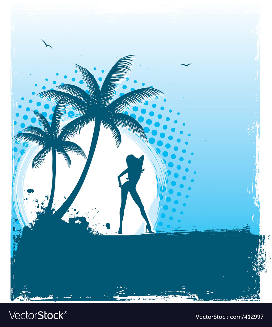 Tropic girl grunge back vector | Price: 1 Credit (USD $1)