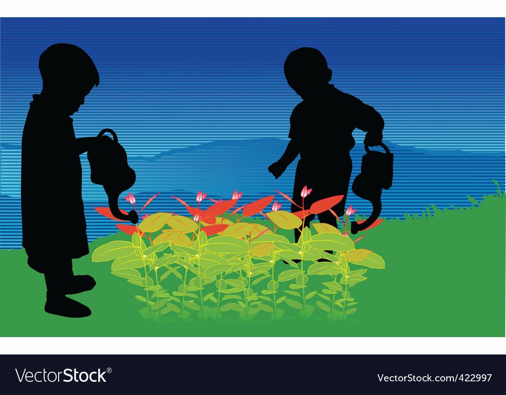 Two children vector | Price: 1 Credit (USD $1)