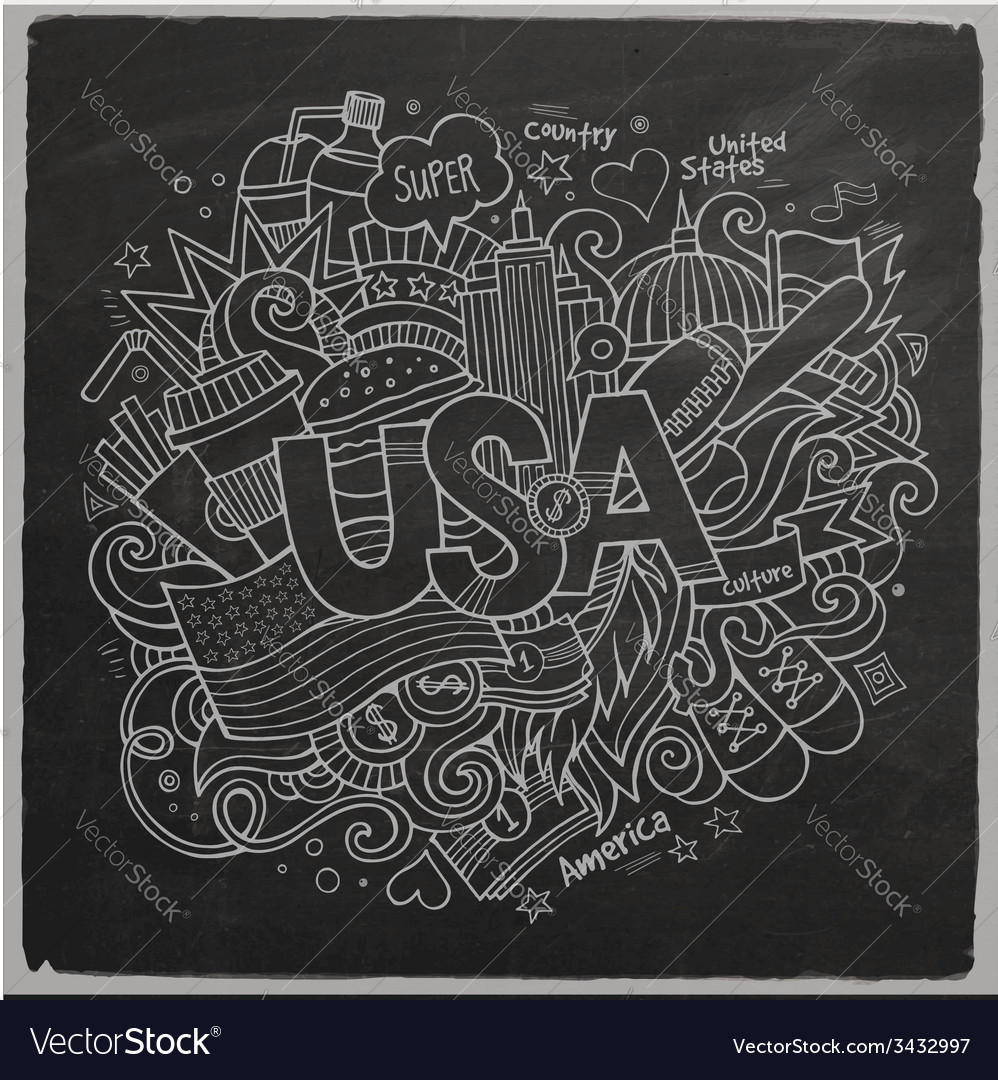 Usa hand lettering and doodles elements background vector | Price: 1 Credit (USD $1)