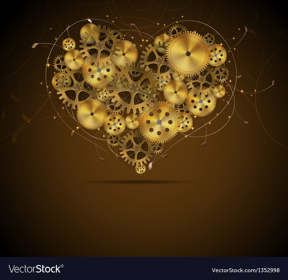 Abstract mechanical heart with floral elements vector | Price: 1 Credit (USD $1)