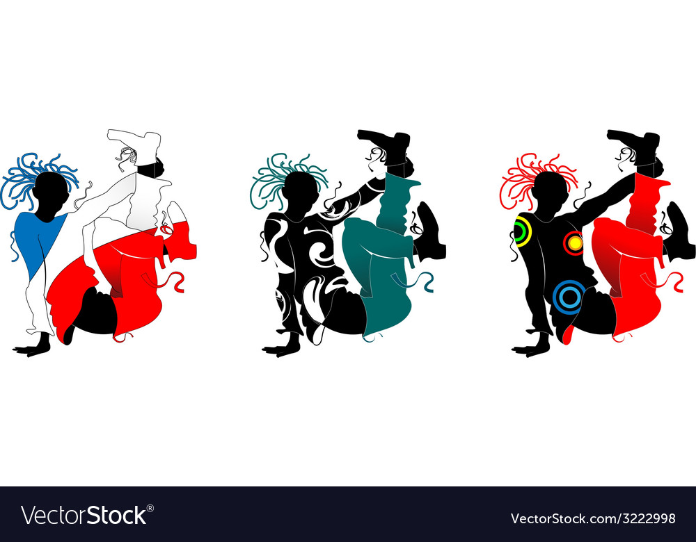 Breakdance silhouette of a man in bright clothes vector | Price: 1 Credit (USD $1)