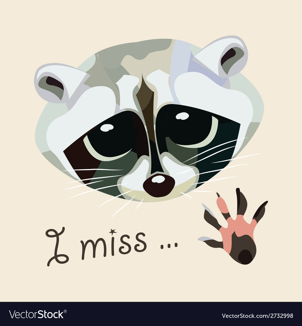 Card with a raccoon - i miss vector | Price: 1 Credit (USD $1)