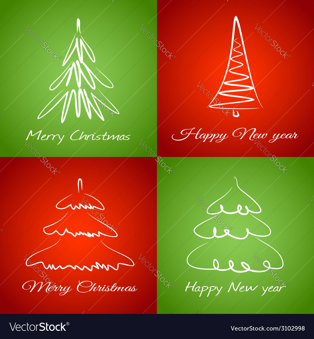 Cards with christmas trees vector | Price: 1 Credit (USD $1)