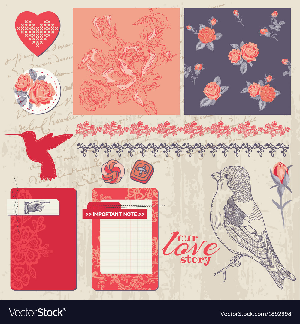 Design elements - vintage roses and birds vector | Price: 1 Credit (USD $1)