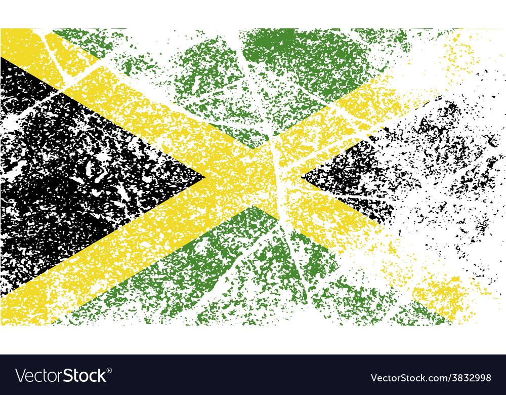 Flag of jamaica with old texture vector | Price: 1 Credit (USD $1)