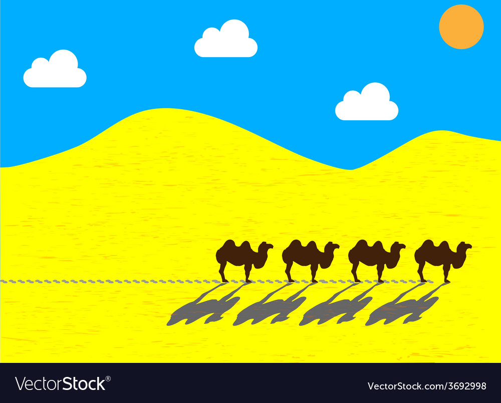 Flat camels going through the desert vector | Price: 1 Credit (USD $1)
