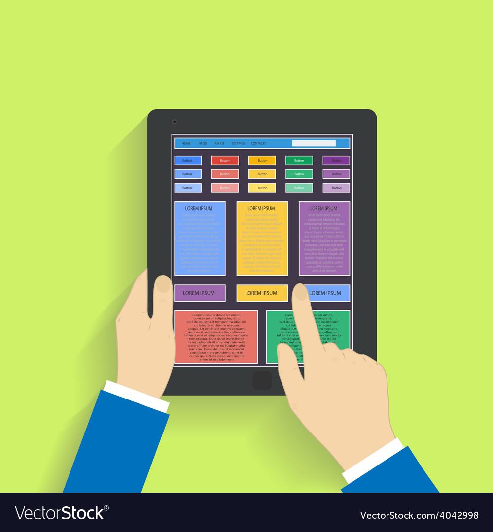 Flat design social media on a digital tablet vector | Price: 1 Credit (USD $1)