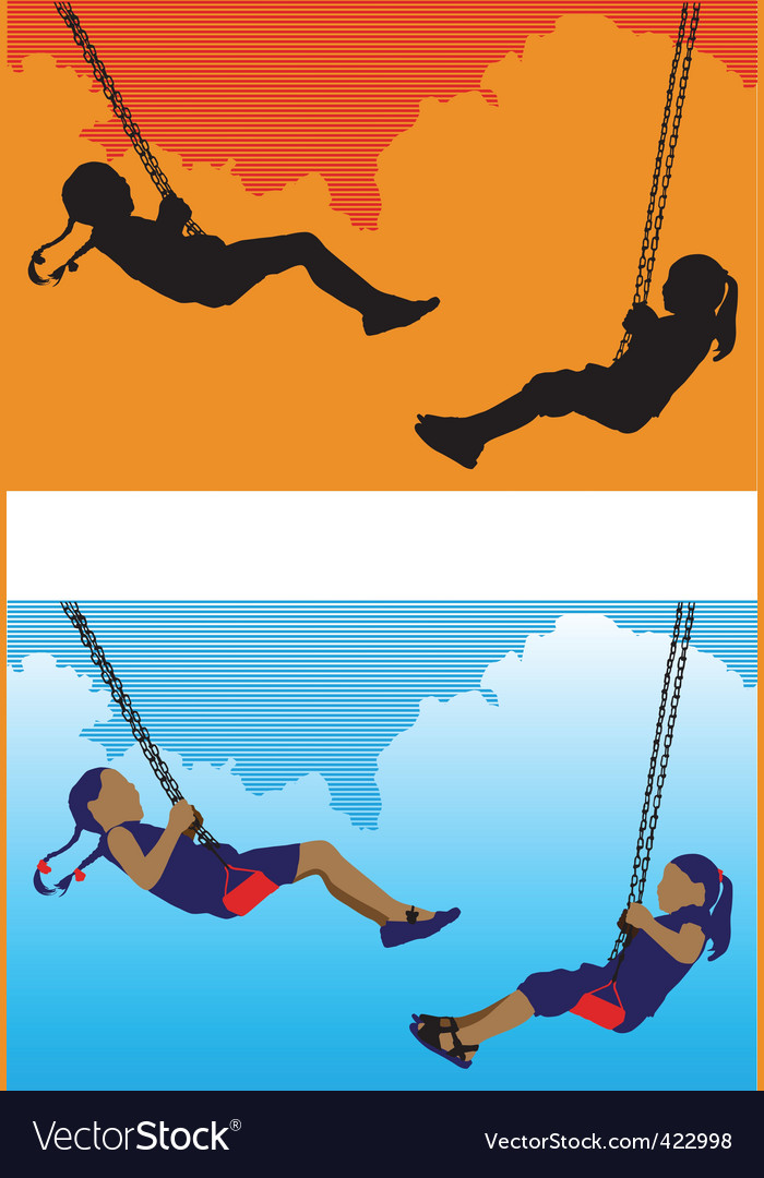 Girls on swing vector | Price: 1 Credit (USD $1)