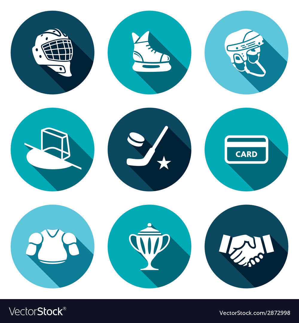 Hockey flat icon set vector | Price: 1 Credit (USD $1)