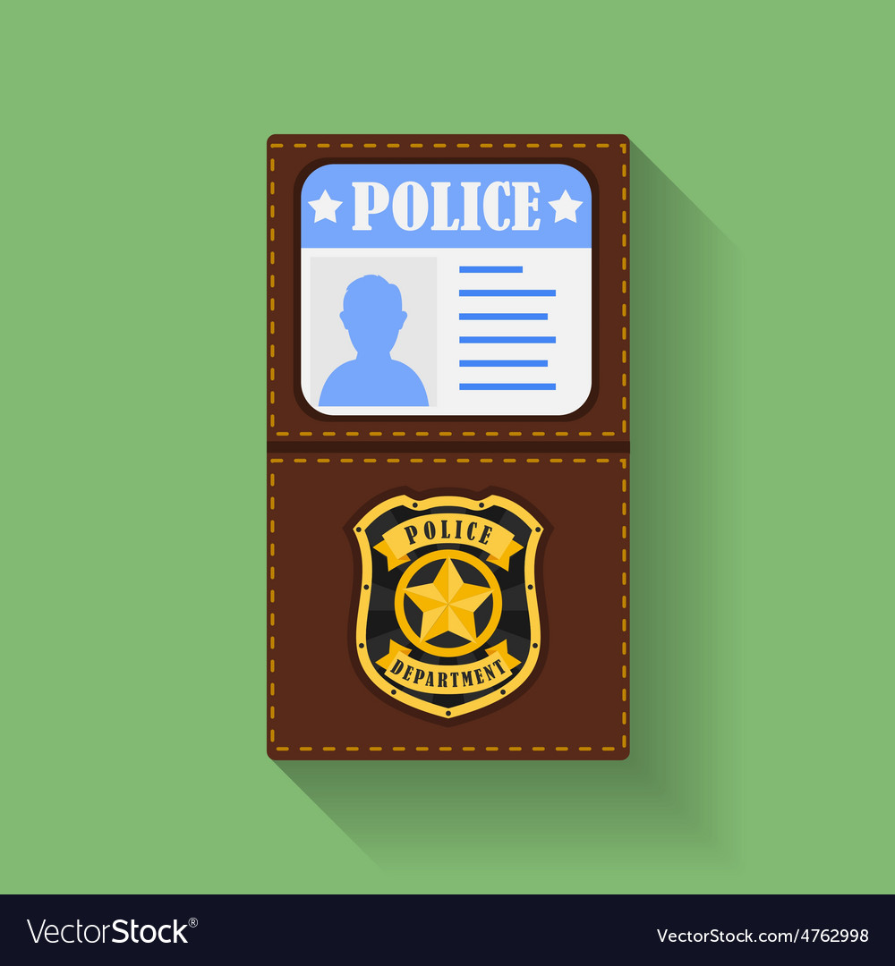 Icon of police badge with id case holder flat vector